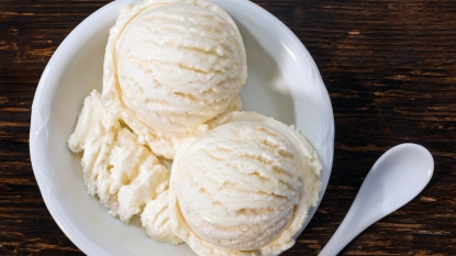 Bowl with two scoops of vanilla ice cream