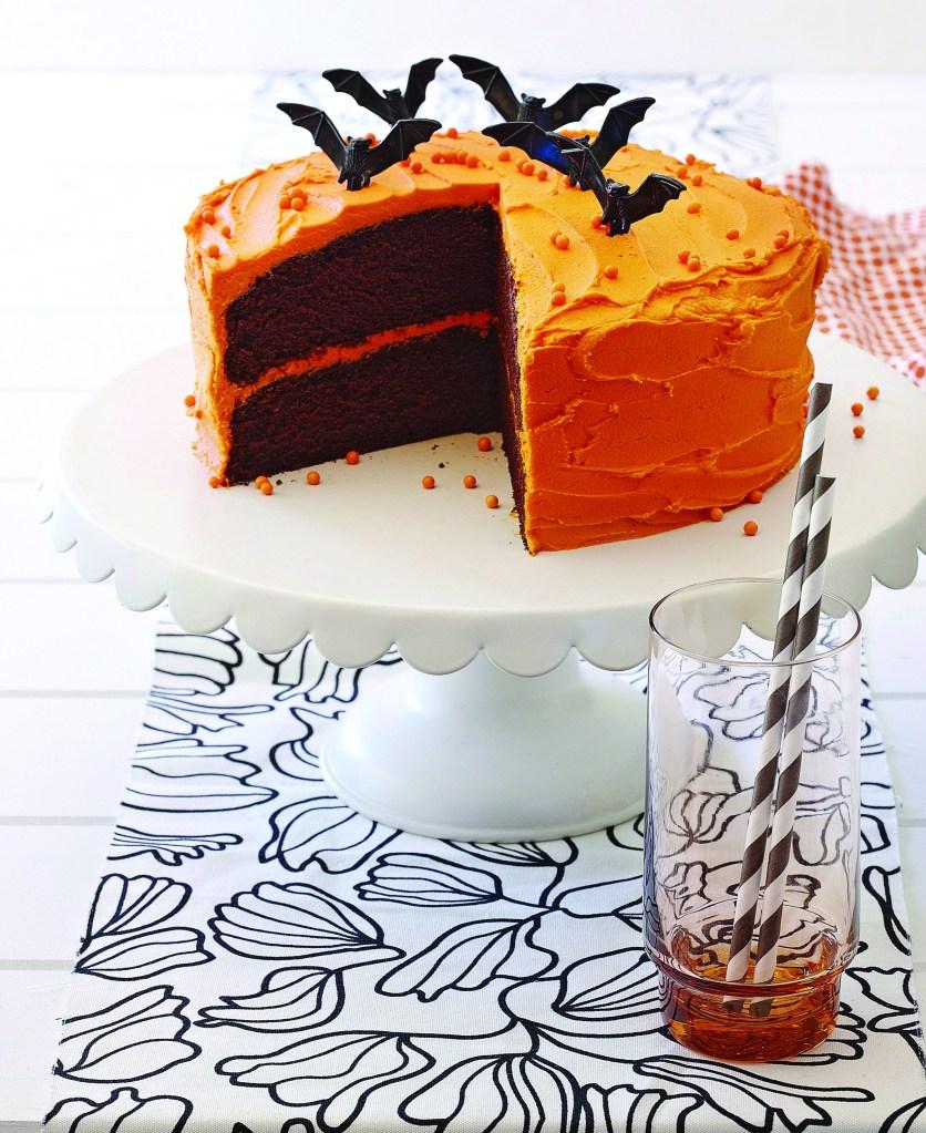 Orange chocolate cake with bat decoration