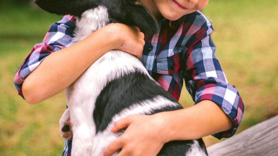 Little boy hugging dog