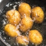 Pot of boiling potatoes