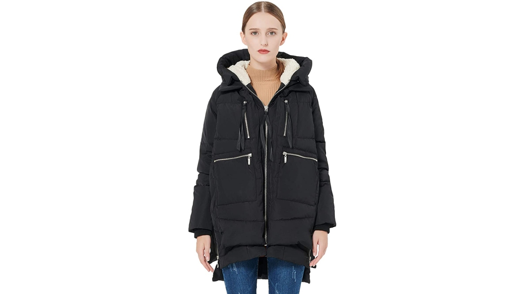 NOMUSING Overcoat for Women Winter Fashion Irregular Bow Zippers Sleeve Long Warm Coat Wool Jacket Parka Windbreaker
