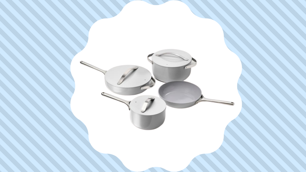 caraway cookware set in gray