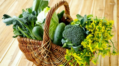 Basket of green vegetables