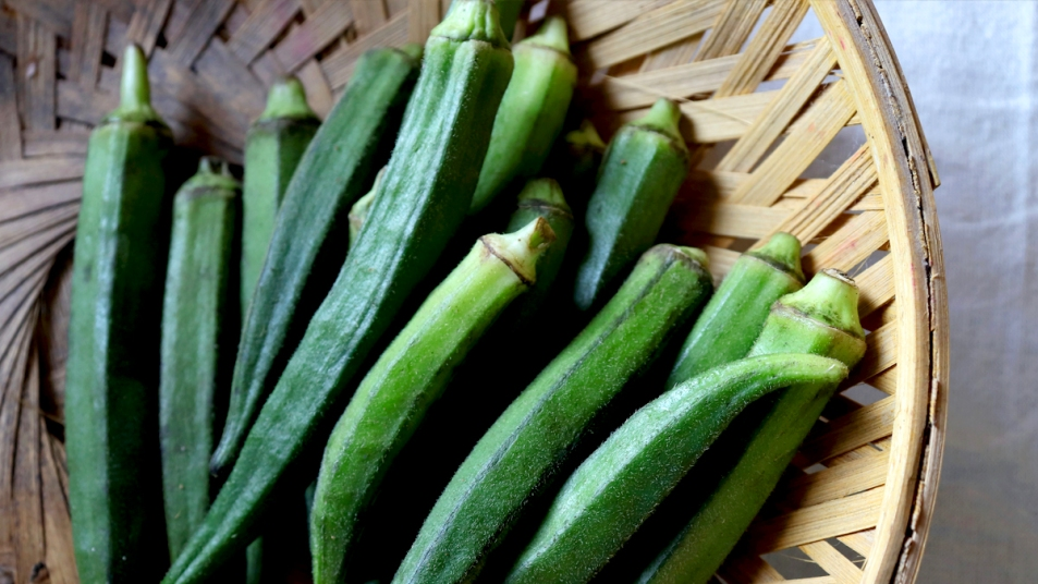 Plate of raw okra