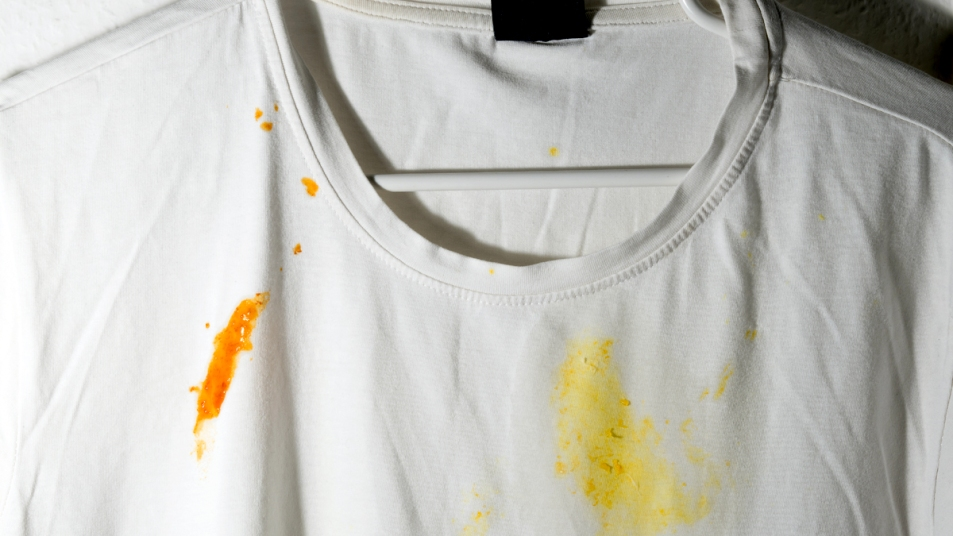 Shirt with food stains
