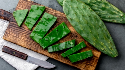 Nopales on cutting board