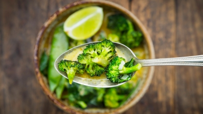 Spoon with broccoli soup