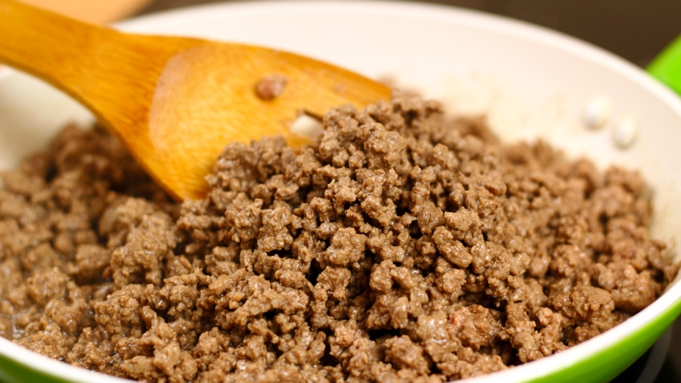 Ground beef in a pan