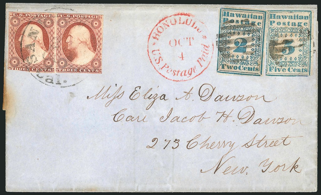 Old letter with Hawaiian Blue Missionary stamps