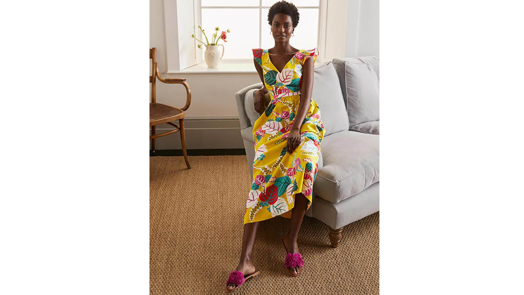 Boden frill sleeve maxi dress