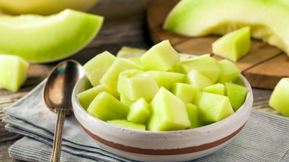 Bowl of chopped honeydew
