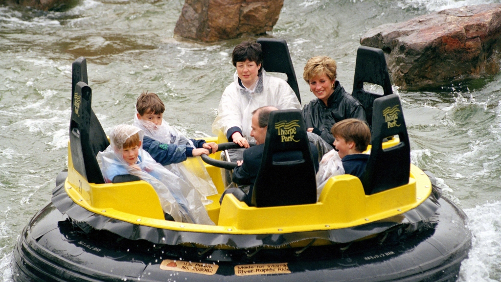 Princess Diana and young William and Harry at Thorpe Park