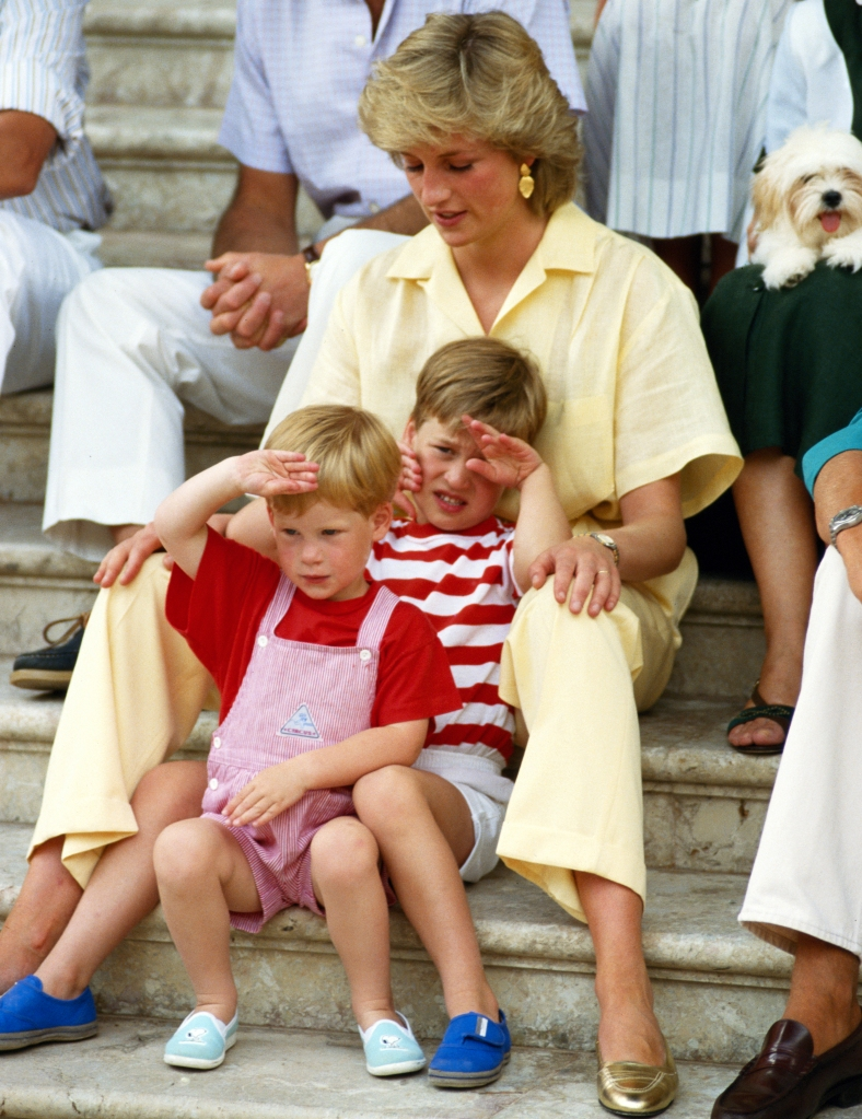 Princess Diana with young William and Harry in Spain