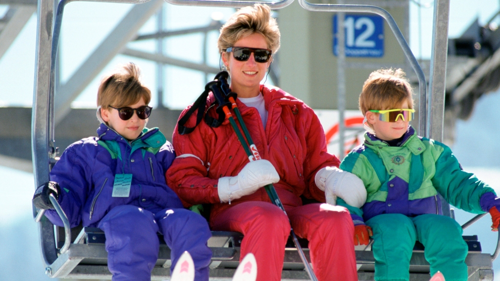 Princess Diana with young William and Harry on ski lift