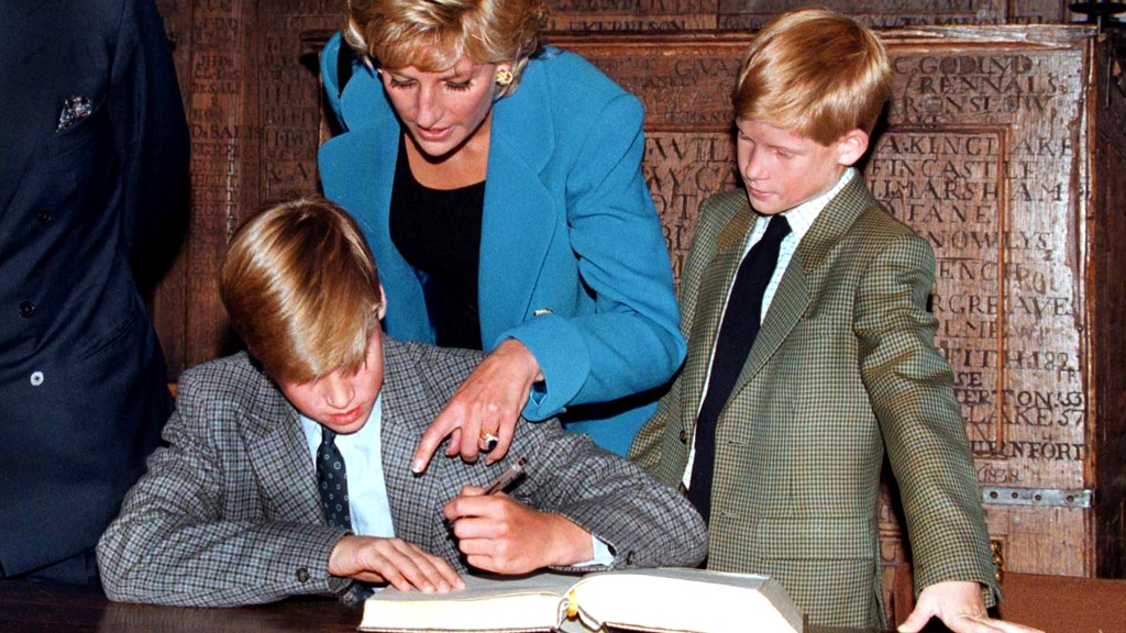 Princess Diana with young Harry and William on his first day at Eton