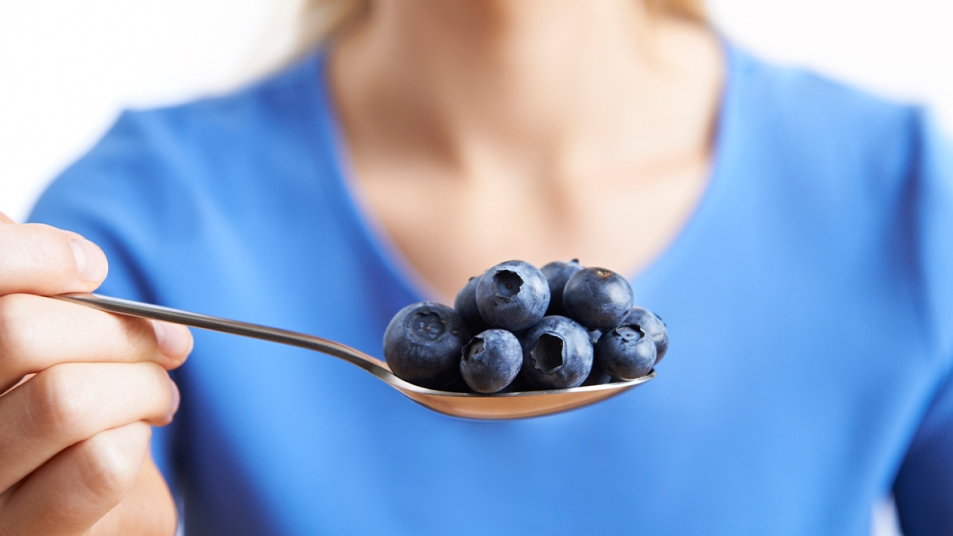A spoonful of blueberries