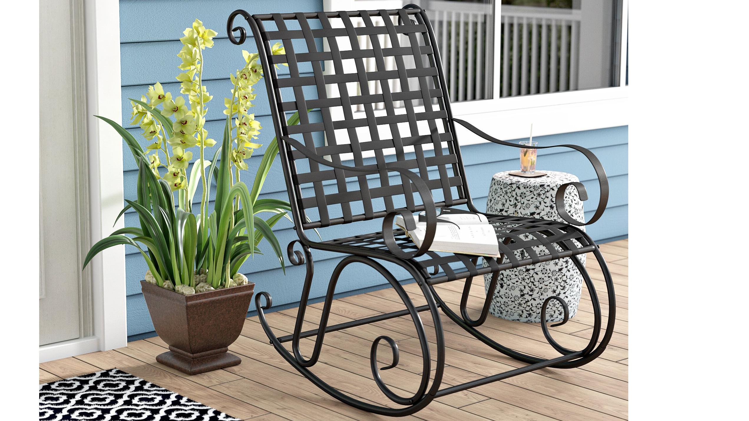 Saundra+Iron+Outdoor+Patio+Rocking+Chair