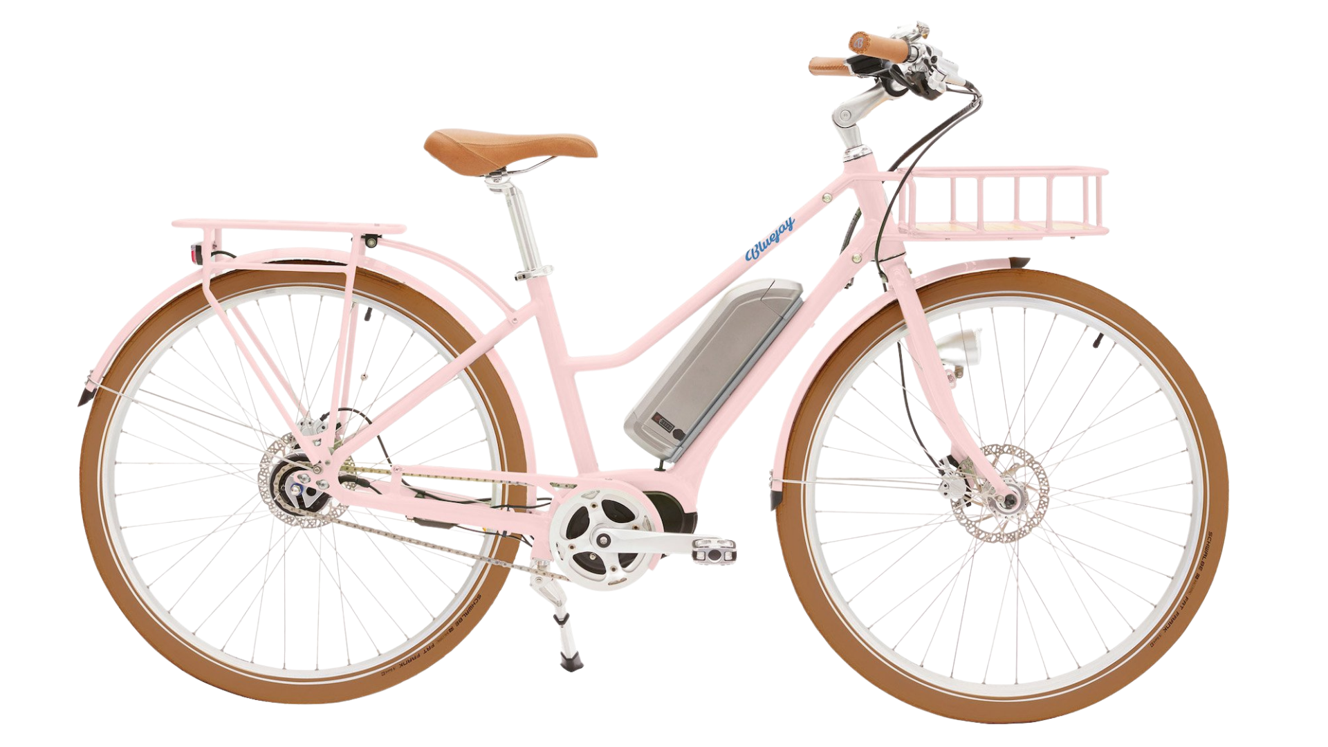 pink electric bike with basket
