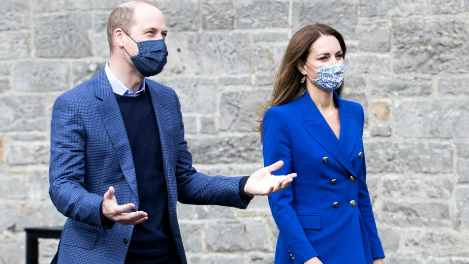Prince William and Kate walking with masks on