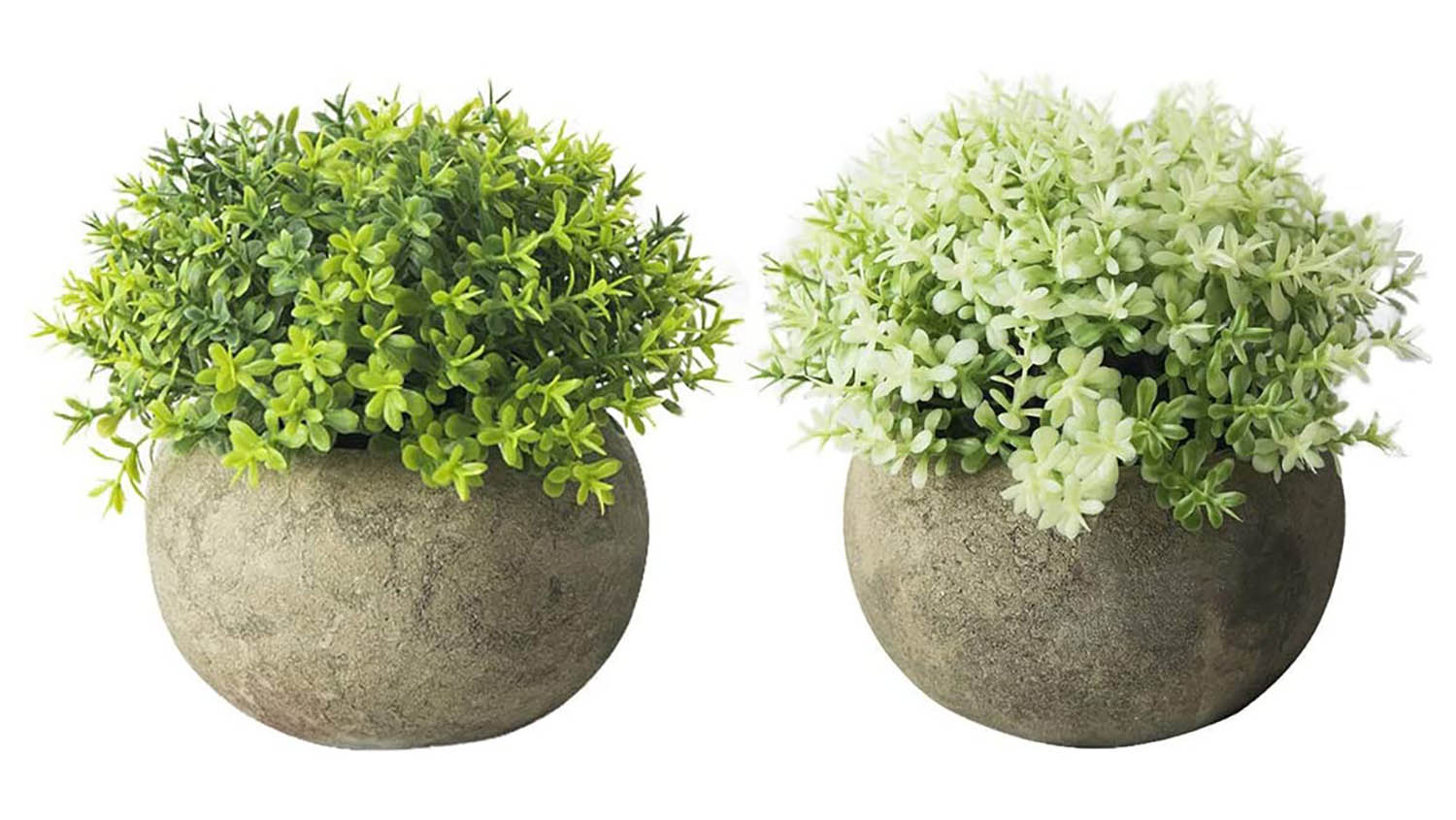 two artificial plants