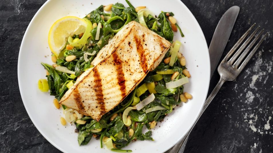 Plate of halibut and spinach