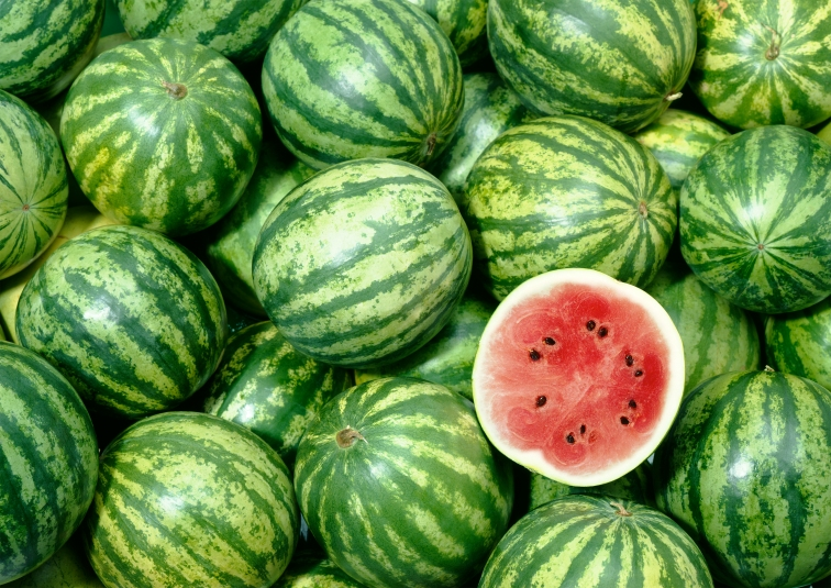 ripe watermelon at the grocery story
