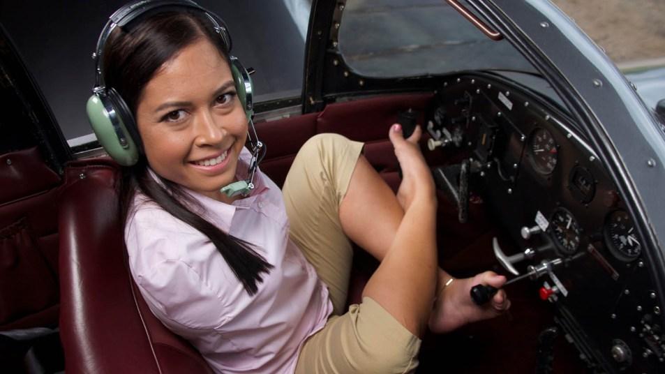 Pilot Jessica Cox in the cockpit of a plane