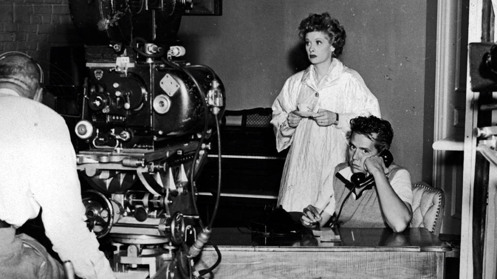 Lucille Ball and Desi Arnaz filming 'I Love Lucy'