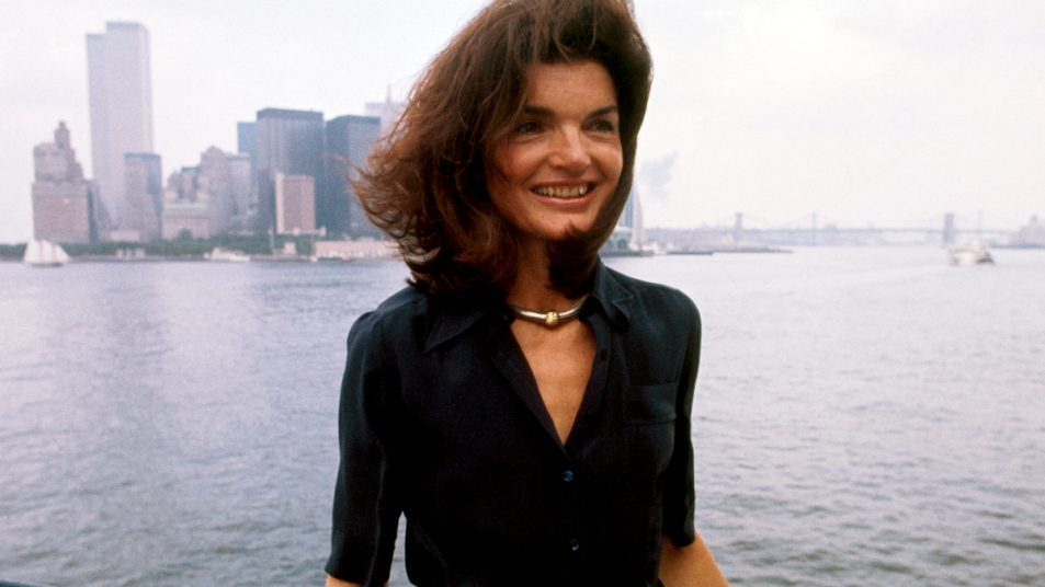 Jacqueline Kennedy with NYC skyline in background