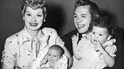 Lucille Ball, Desi Arnaz, and young Lucie and Desi Jr.