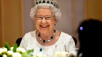 Queen Elizabeth at a dinner event