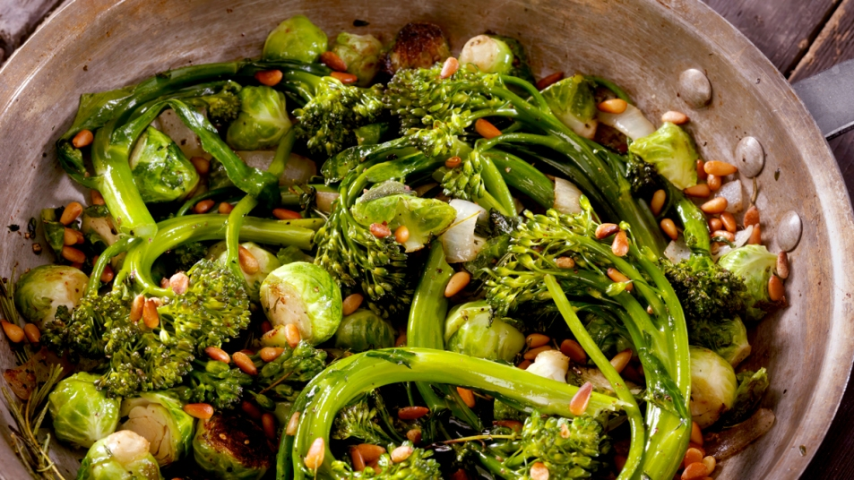 Pan of broccoli and Brussels sprouts