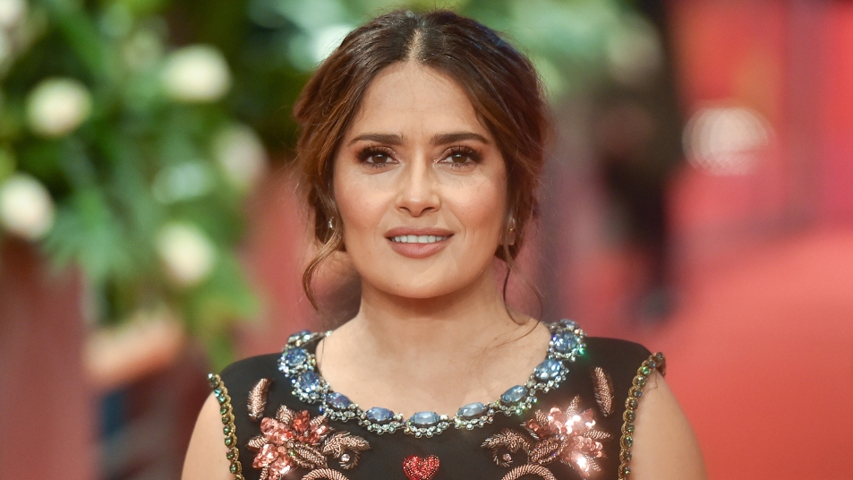 """Salma Hayek poses at the """"The Roads Not Taken"""" premiere during the 70th Berlinale International Film Festival Berlin at Berlinale Palace on February 26, 2020 in Berlin, Germany"""