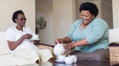 women drinking tea together