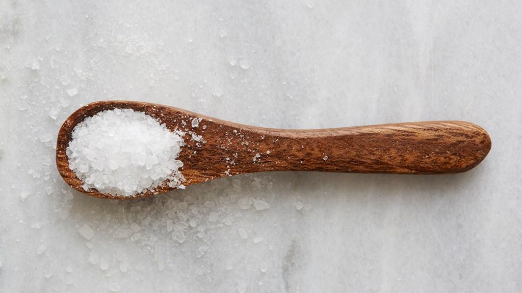 Sea salt on a spoon