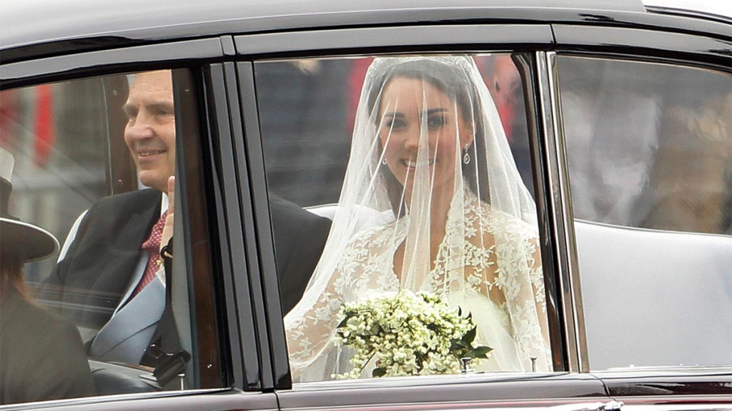 Kate Middleton arriving to her wedding