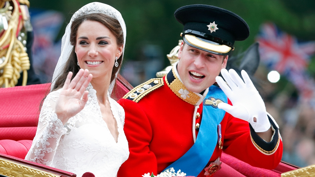 Kate and William in the wedding carriage