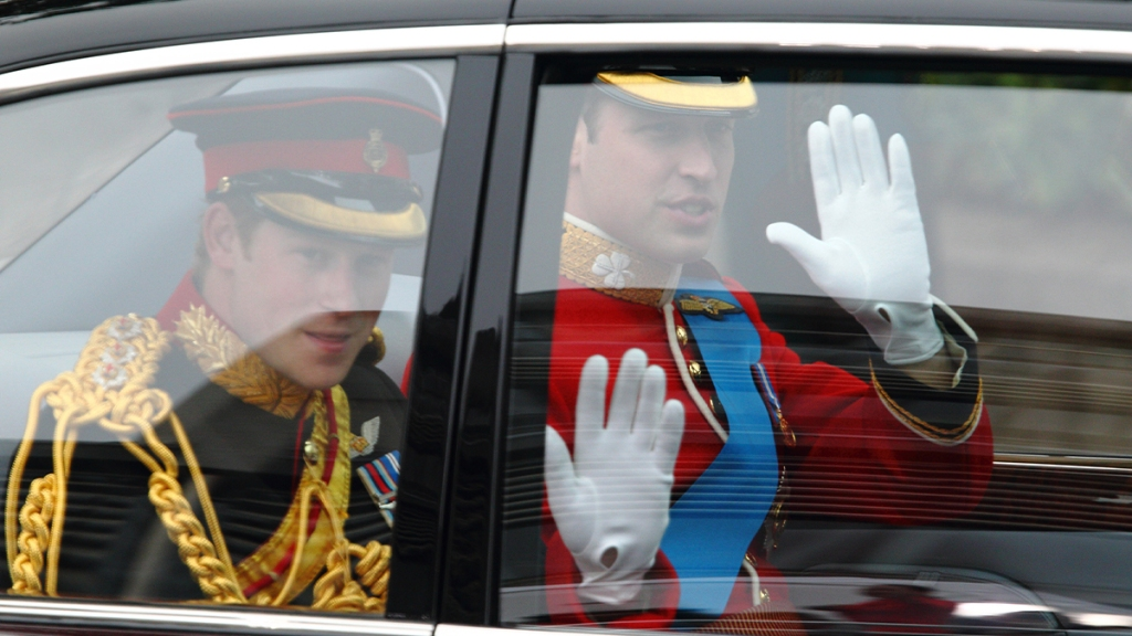 William and Harry arriving to William and Kate's wedding