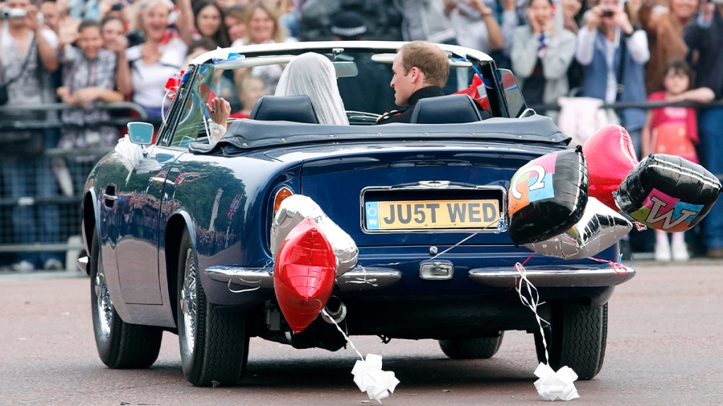 William and Kate in the _Just Wed_ vehicle