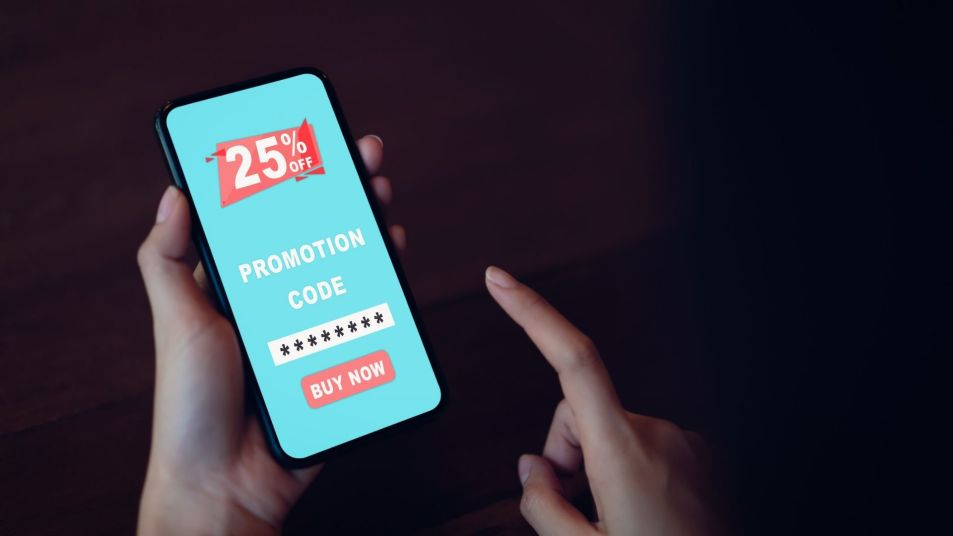 Cell phone with coupon promo code