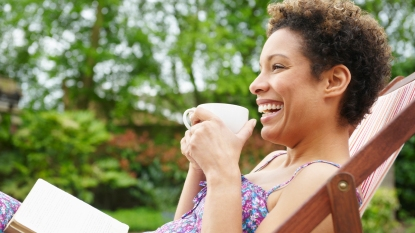 Woman spending time on her porch