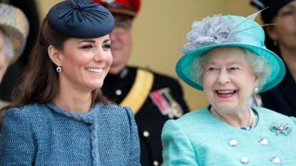 Queen Elizabeth and Kate Middleton sitting together