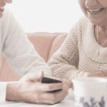 caregiver helping senior citizen