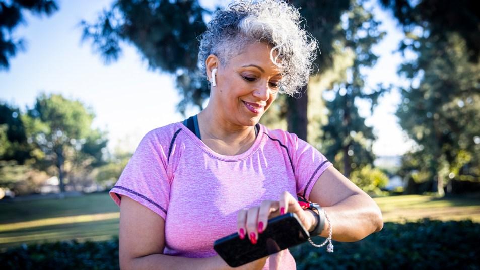 Woman wearing a fitness tracker