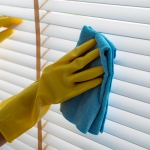 Woman wiping window blinds