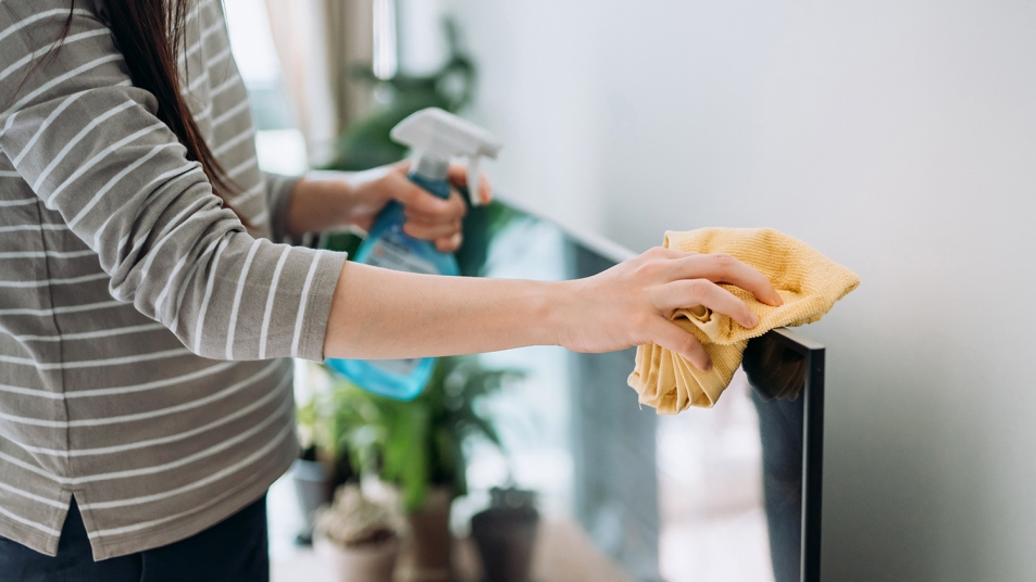 woman cleaning a television