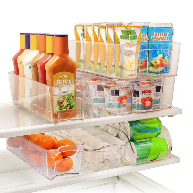 Greenco 6 Piece Refrigerator and Freezer Stackable Storage Organizer Bins
