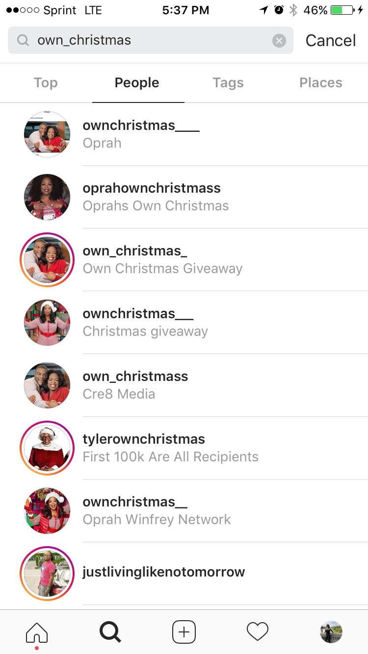 oprah own accounts