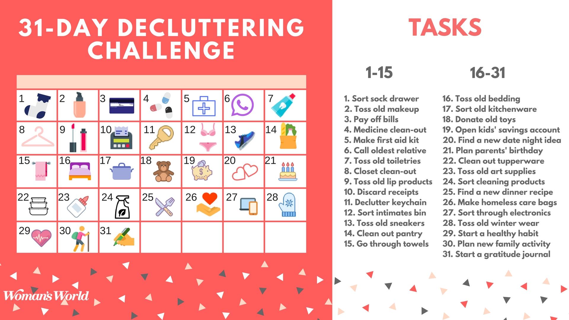 2018 decluttering calendar