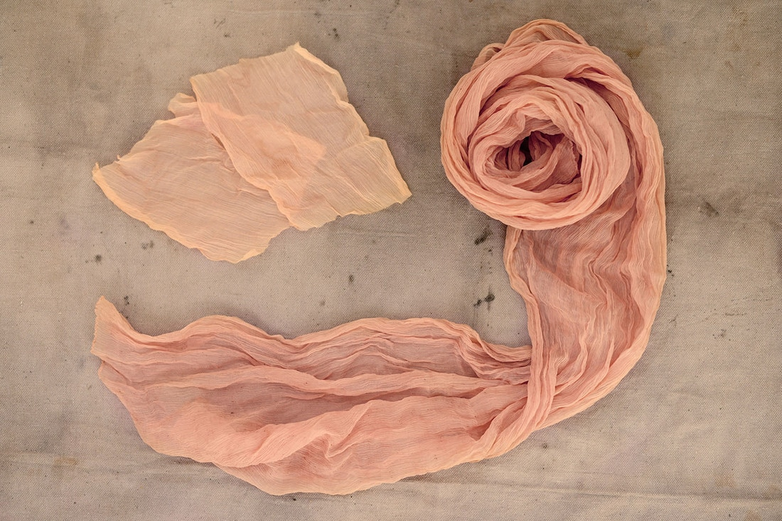 Fabric dyed with avocado peels